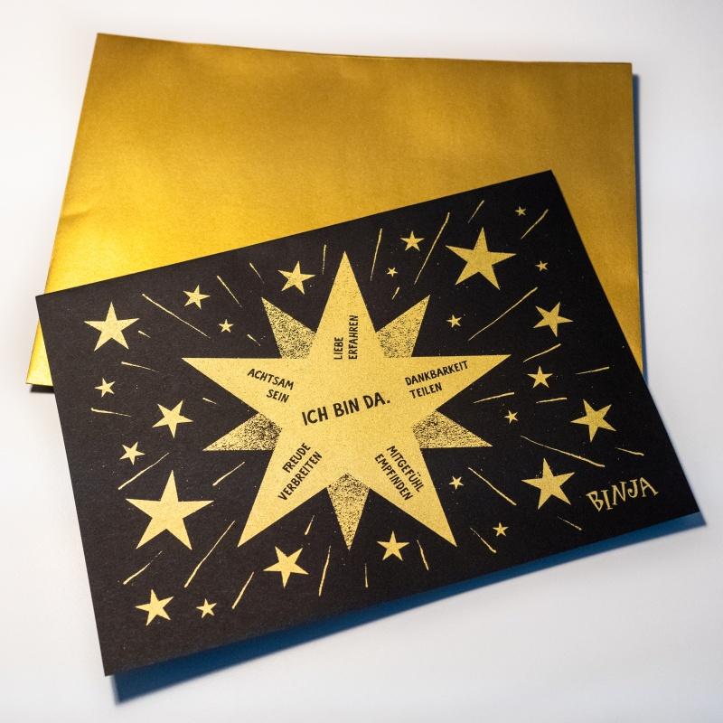 Binja Adventskarte, Klappkarte A5, mit Umschlag gold, Siebdruck