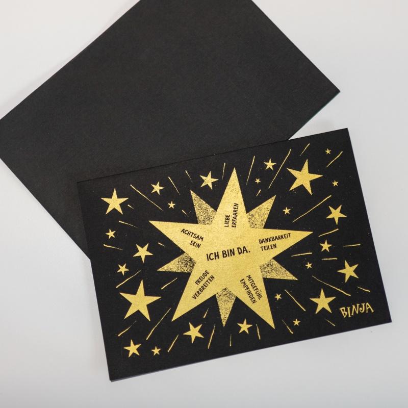 Binja Adventskarte, Klappkarte A5, mit Umschlag schwarz, Siebdruck